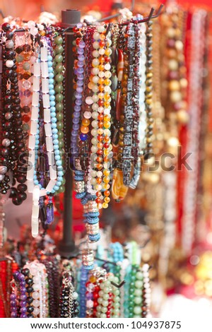 colorful beads collection at the shop - stock photo