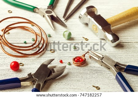 Colorful Beads Copper Wire Jewelry Tools Stock Photo & Image ...