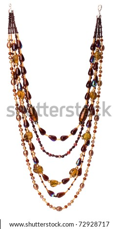 colorful beads necklace isolated on white background - stock photo