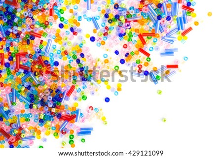 colorful beads, white background
