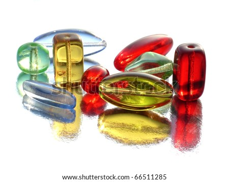 Colorful beads with reflections - stock photo