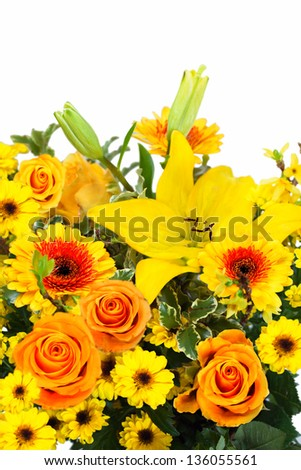 Colorful beautiful bouquet with yellow roses, gerbera and lily in composition - stock photo