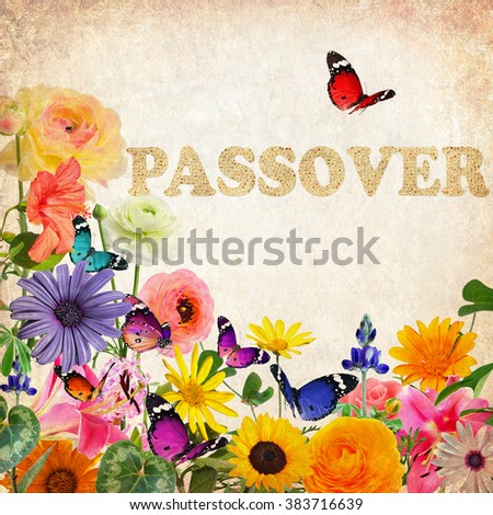 Colorful beautiful flowers,butterflies and word Passover made of Matzoh (matzah or matzo) traditional Jewish dry bread for Passover holiday.Spring nature abstract holiday background. Vintage style  - stock photo