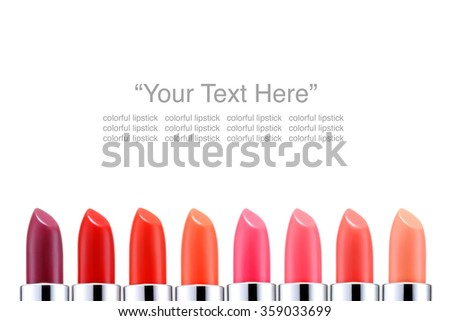 Colorful Beautiful lipstick isolated with text on white background