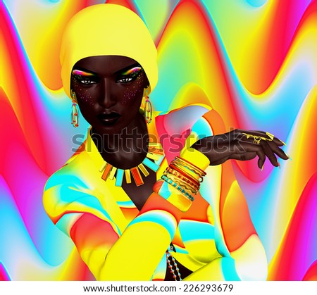 Colorful beauty and fashion digital art scene with African model posing against a bright abstract background. Makeup,clothing and accessories all matching. Powerful eyes  give a confident look. - stock photo