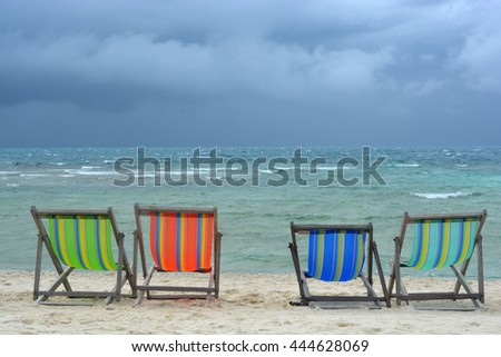 colorful bed on the beach