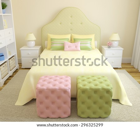 Colorful bedroom  interior for girl. 3d render. - stock photo