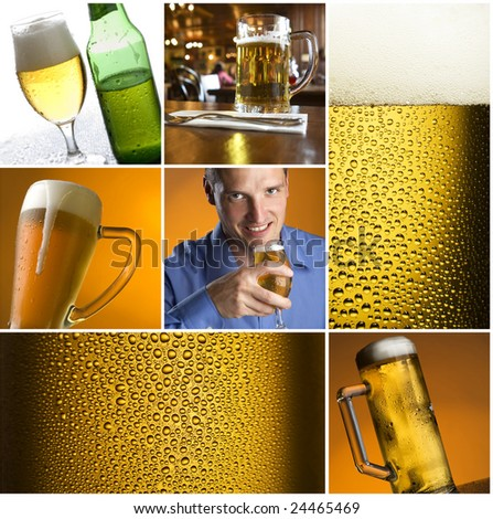 colorful beer collage made from nine photographs