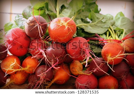 colorful beets at the farmer's market - stock photo