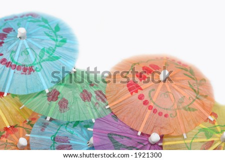 Colorful beverage umbrellas - stock photo