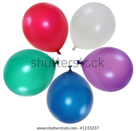 Colorful big balloons  isolated on white background - stock photo