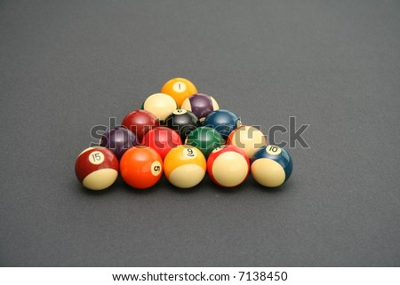 Colorful Billiard Balls on a Pool Table - stock photo