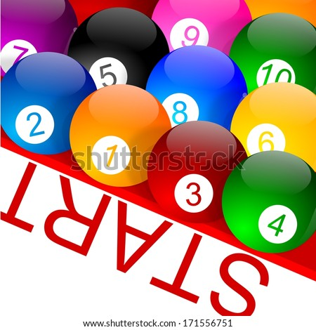 Colorful billiard balls with numbers on the grid - illustration