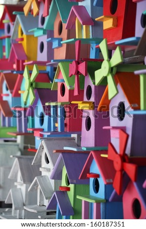 colorful bird house. - stock photo