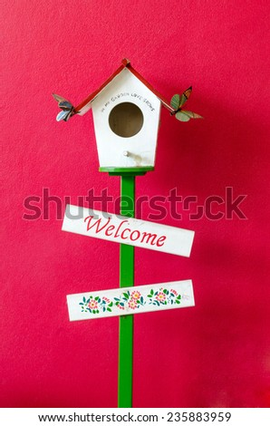 colorful bird house is an area of �¢??�¢??Public for photography.w - stock photo
