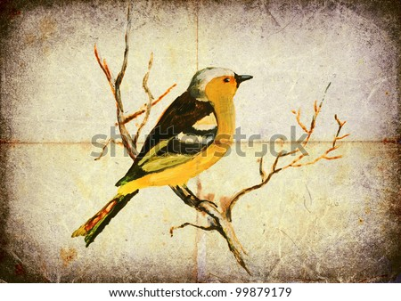Colorful bird of our area. Tempera painting on an old paper sheet. THE FINCH - stock photo