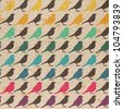 Colorful birds seamless pattern. - stock photo