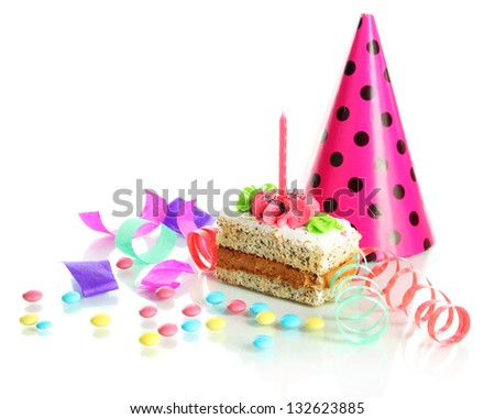 Colorful birthday cake with candle isolated on white