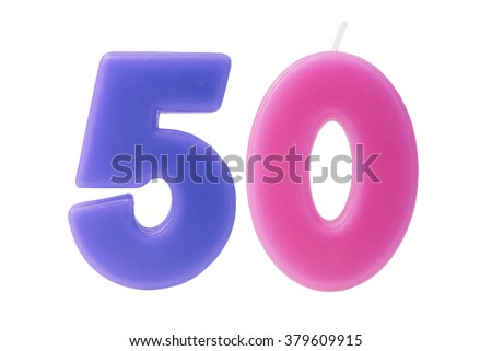 Colorful birthday candles in the form of the number 50 on white background - stock photo