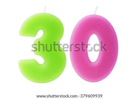 Colorful birthday candles in the form of the number 30 on white background - stock photo