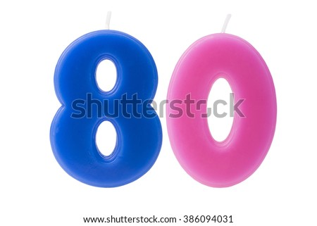 Colorful birthday candles in the form of the number 80 on white background - stock photo