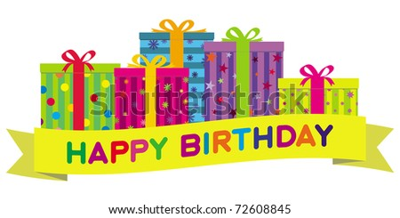 Colorful birthday gift boxes with a yellow banner wishing 'Happy Birthday'.  Gradient free illustration. - stock photo