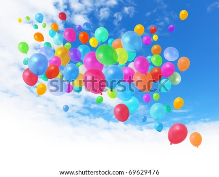 Colorful birthday party balloons flying on blue sky background - stock photo
