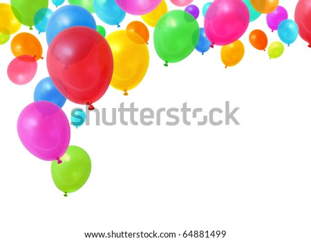 Colorful birthday party balloons flying on white background - stock photo