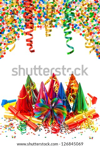 colorful birthday party decoration. multicolored garlands, streamer, hats and confetti on white  background - stock photo