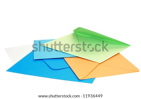 Colorful blank envelopes isolated on white background