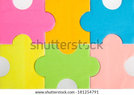 Colorful blank puzzle pieces - stock photo