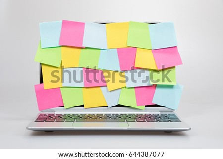 Colorful Blank Sticky Memos Completely Covering Stock Photo