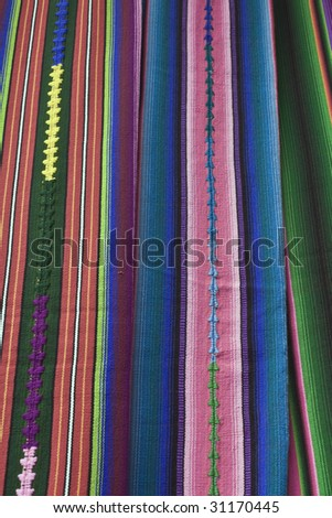 Colorful Blanket - market in Chichicastenango - stock photo