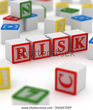 Colorful block - risk , This is a computer generated and 3d rendered picture. - stock photo