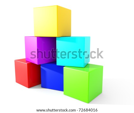 Colorful blocks stacked carelessly into a pyramid. - stock photo