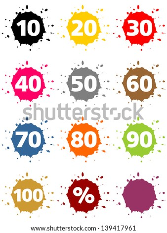 Colorful blots as buttons with percentage sign and numbers - stock photo
