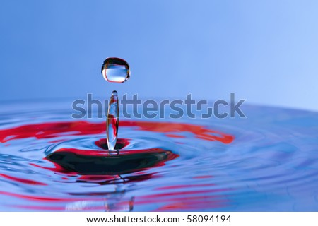 Colorful blue and red water drop and splash