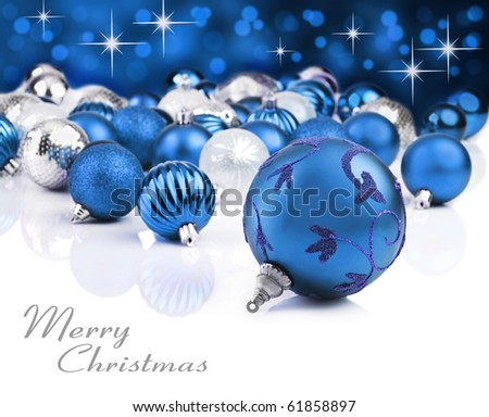 Colorful  blue christmas balls - stock photo