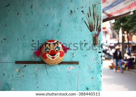 Colorful blue wall in Hoi An Vietnam - stock photo