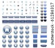 Colorful, blue web collection of many icons, buttons, bars and chat bubbles. - stock photo