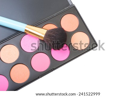 Colorful blush for cheeks palette with professional makeup brush. Makeup background. Isolated on white background. - stock photo