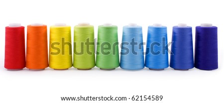 colorful bobbins isolated on white background with clipping path