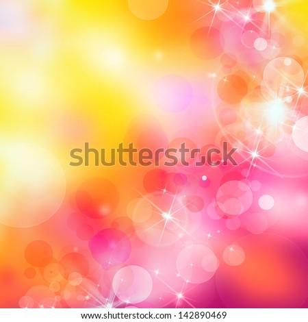 colorful bokeh background in pink, orange, yellow - stock photo