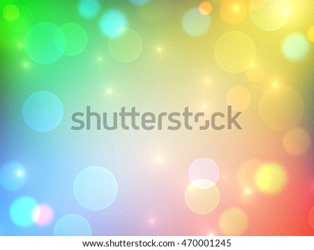 Colorful bokeh light design on colorful grain background