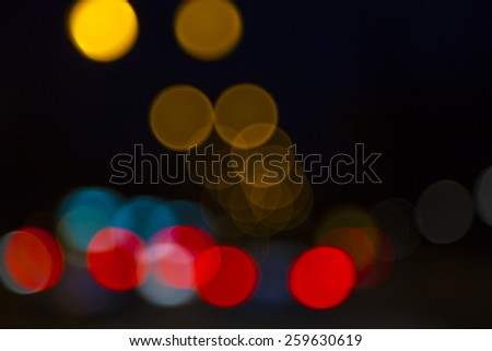 colorful bokeh light from night traffic - stock photo