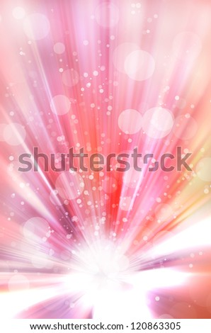 colorful bokeh light with star burst background - stock photo
