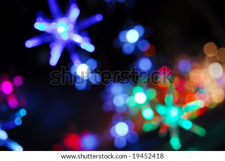 Colorful bokeh of christmas lights - stock photo