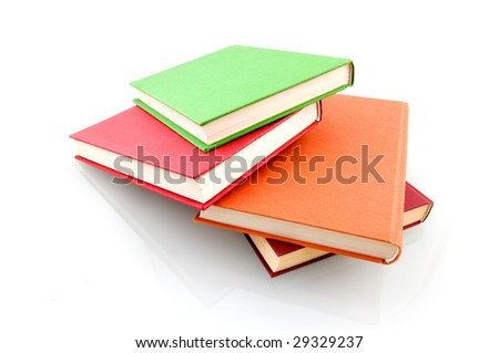 Colorful book stack isolated on white background - stock photo