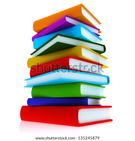 Colorful books. A stack of colorful books, close-up on a white background. - stock photo