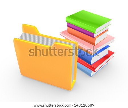 Colorful books and yellow folder.Isolated on white.3d rendered.